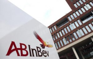 File photo of the Anheuser-Busch InBev logo as seen outside the brewer's headquarters in Leuven