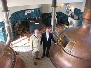 Father Ivo (l) and Antoine Bosteels in the brew hall